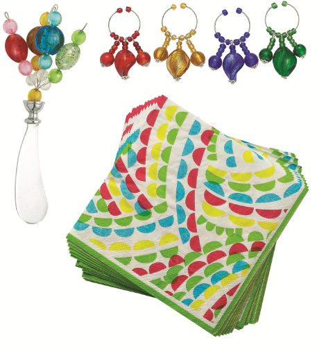 Boston Warehouse 6-Piece Art Glass Wine and Cheese Set, Colorful Spray