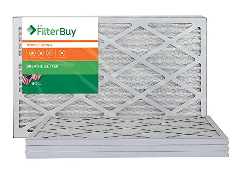 AFB Bronze MERV 6 15x25x1 Pleated AC Furnace Air Filter. Pack of 4 Filters. 100% produced in the USA. (Air Filter 15x25x1 compare prices)