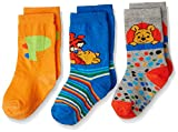 Walt Disney Boys' Socks and Stockings (RDWD-1765/1766/1767_Blue, Orange and Grey Melange_5 - 6 years)