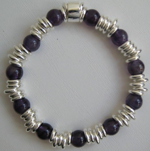 Hand-Made Amethyst Multi Links Style Semi Precious Stone Bracelet - Elasticated - L6