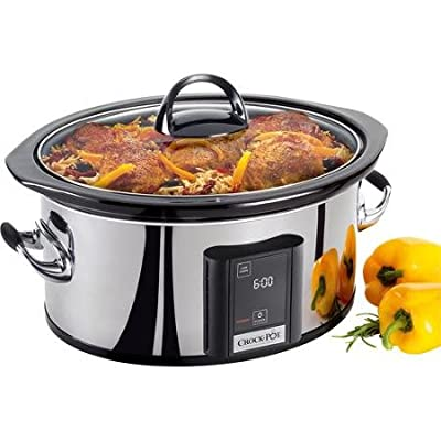 Programmable Slow Cooker 6.5-quart Seamless Polished Stainless Steel Exterior with Touchscreen Panel by Crock-Pot