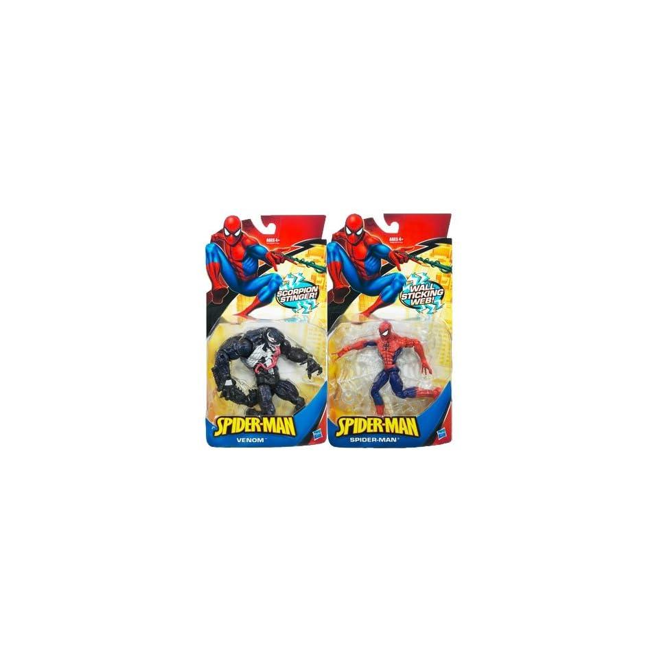 2009 2010 Classic Spider Man (wall sticking web) and Venom (Scorpion stinger) 2 figure pair set