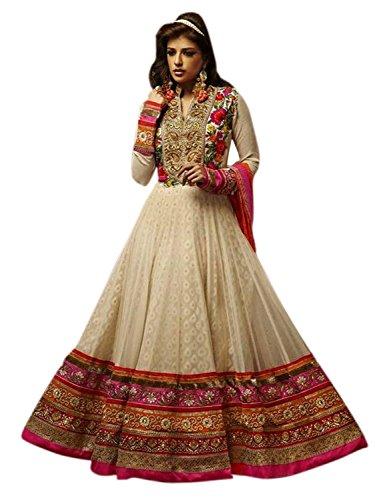 Wimberly Fashion Women's Off-White Cream Net Chiffon Semi Stitched Anarkali Dress WF0019-FBA