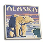 Alaska Polar Bear At Sunrise (Set Of 4 Ceramic Coasters Cork Backed, Absorbent)
