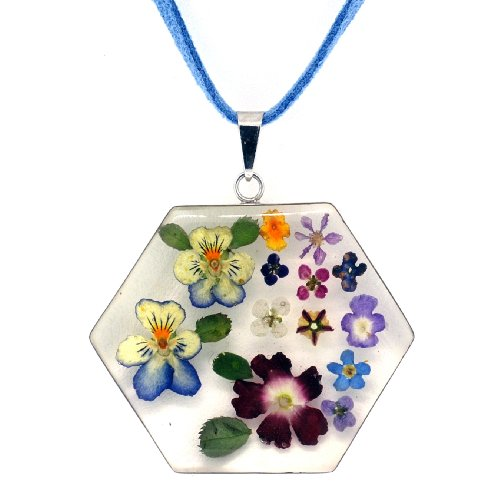 Sterling Silver Pressed Flower Pentagon Pendant on Suede Cord, 16""