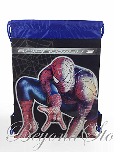 Marvel Amazing Spider-man Black/Blue Drawstring Backpack Tote Bag - 1