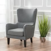 Sheffield Charcoal Fabric Wingback Studded Chair