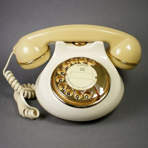 Vintage 1980s Ceramic Dial Telephone with Gold Plating picture