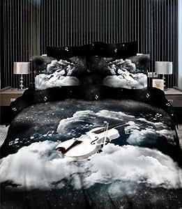 cliab violin beding music note bedding music bedding duvet cover set 100 cotton 4pcs. Black Bedroom Furniture Sets. Home Design Ideas
