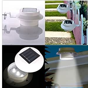 RioRand Donner 2 Pack White Outdoor Solar LED Utility Lamp Gutter