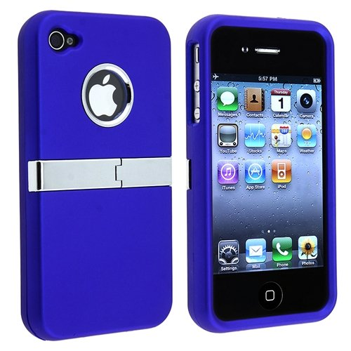Snap-on Case compatible with Apple® iPhone® 4 AT&T / Verizon / iPhone® 4S, Blue with Chrome Stand
