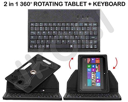 Jkobi 360* Rotating Premium Leather Finished USB Keyboard Tablet Flip Case Holder Cover For iBall Slide 3g 17 Tab Tablet (Universal) - Black