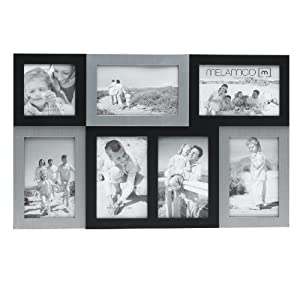 Melannco Two-Tone Black Plastic Collage Frame With Brushed Silver, Holds 7 Photos