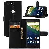 【ShineZone】Google/Huawei Nexus 6P ケース  超薄型スリムケース 高品質 スタンド機能付き 手帳型レザーケース (ブラック)