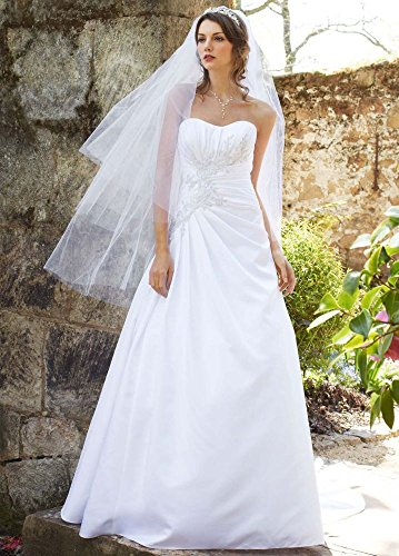 SAMPLE: Satin Side Draped Wedding Dress with Beaded Lace Appliques Style...