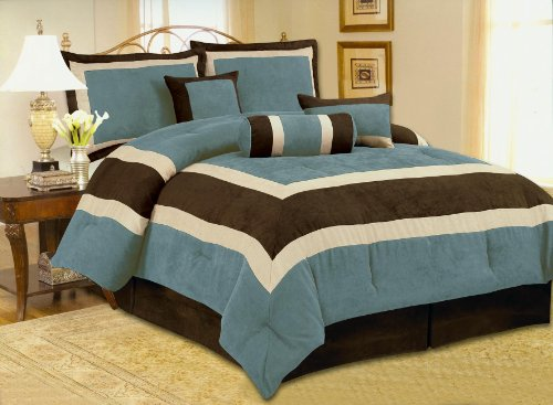 Fancy Collection 7Pc Luxury Aqua Blue Micro Suede Comforter Set Bed-In-A-Bag King Size Bedding front-840759