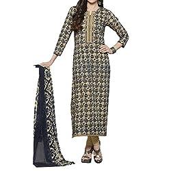 Bhelpuri Women Navy Blue Cambric Cotton Dress Material