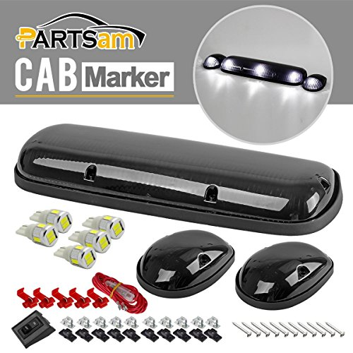 Partsam 3xSmoke Cover Cab Roof Clearance Top Marker Lights w/ T10 5730 White LED bulb for 02-07 Chevy/GMC (06 Gmc Sierra Cab Roof Lights compare prices)