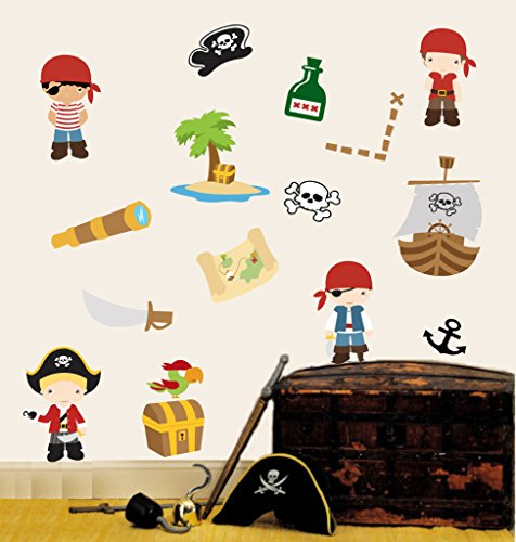 childrens-pirates-multipack-pack-of-16-repositionable-wall-art-vinyl-printed-stickers-easy-peel-stic