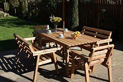 Garden Furniture / Patio Set 6ft Table, 2 Benches, 2 Chairs Solid Wood
