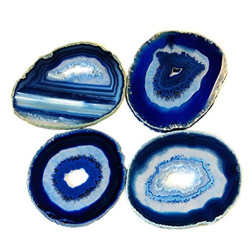 Airblasters Blue color 3.5-4 inch Natural Sliced Agate Coaster with Rubber Bumper Set of 4 by Airblasters [並行輸入品]