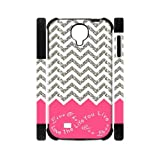 Live the Life You Love, Love the Life You Live.Pink White Grey Chevron(NOT ACTUAL GLITTER) Unique Custom Samsung Galaxy S4 I9500 Best Durable PVC Two-In-One Cover Case