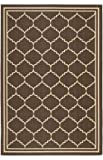 Safavieh Courtyard Collection CY6889-204 Chocolate and Cream Area Rug, 9 feet by 12 feet (9' x 12')