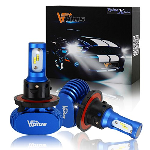 Vplus X Series LED Headlight Bulbs w/ Clear Arc-Beam Kit - H13 9008 72W 8,000LM 6500K White Seoul w/ No Fan All in One Headlamp LED Conversion Replace HID & Halogen - 1 Yr Warranty - (2pcs/set) (Srt8 Spark Plugs compare prices)
