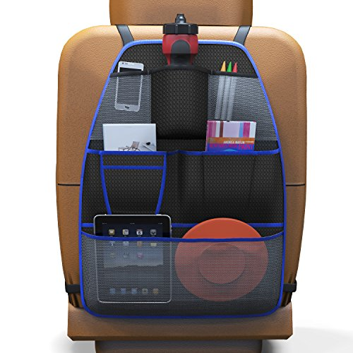 Baby Everest Backseat Organizer For Kids - Premium Extra LARGE Car Backseat Organizer - Kids Toy Storage Protector Kick Mat - Luxury Universal Back Seat Protector - *Satisfaction Guaranteed*
