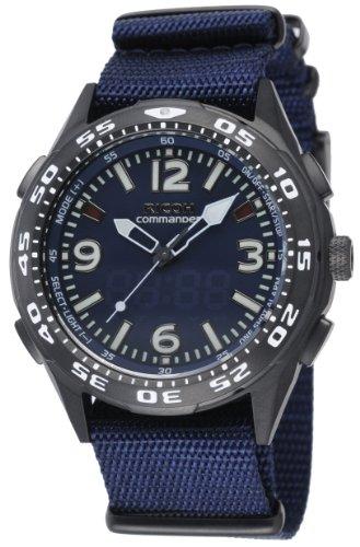 Ricoh Men'S Watch Commander Reminder Inductive Charge Analogue Vibration Alarm Blue 660102-92
