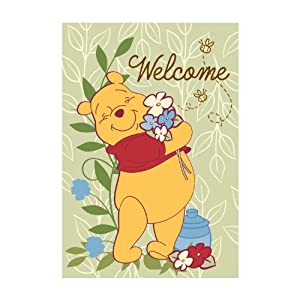 disney winnie the pooh welcome garden flag patio lawn garden. Black Bedroom Furniture Sets. Home Design Ideas