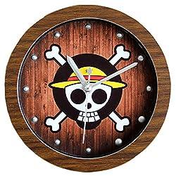 Grazing 5 Catoon One Piece Skull Pirate Imitation Wood Grain Non Ticking Sweep Silent Round Desk Travel Alarm Clock (One Piece, Brown)