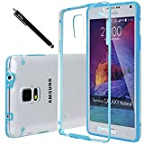 Note 4 Case, E LV Galaxy Note 4 Case Cover - Clear Hybrid Protective Case Cover for Samsung Galaxy Note 4 with 1 Stylus and 1 Microfiber Cleaning Cloth - BLUE