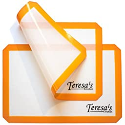 Teresa\'s Kitchen - Silicone Baking Mat - Nonstick - Baking Sheet for Oven or Toaster Oven - Cookie Sheets - Orange - Set of 2