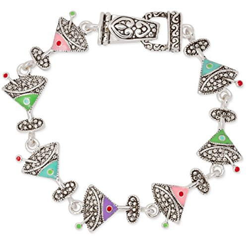 cocktails-martini-cosmo-appletini-glass-silver-tone-bracelet-magnetic-clasp