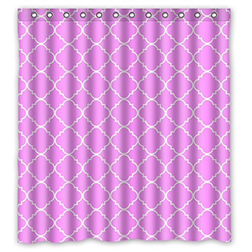 """Cool Quatrefoil Simple Pink And White Classic Reticular Waterproof Shower Curtain 66"""" X 72"""" front-924696"""