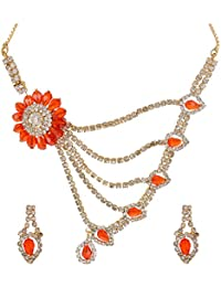Yash Bronze Metal Multi-Strand Fashion Necklace Set For Women (B80_ORANGE)
