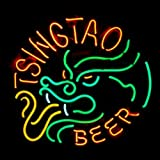 HOZER Professional TSINGTAO BEER Design Decorate Neon Light Sign Store Display Beer Bar Sign Real Neon Signboard for Restaurant Convenience Store Bar Billiards Shops