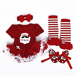 TANZKY Baby Girls' Santa Costume 4PC Headband Legging Shoe US Size 12M Light Red