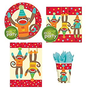 eco party - Sock Monkey Party Pack for 8 guests - dinner plates, napkins, tablecover, cups at 'Sock Monkeys'