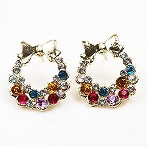 Fashionable Full Rhinestone Vintage Bow Gemstone Damen Ohrringe