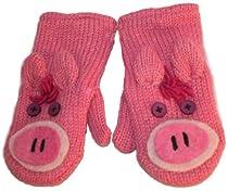 DeLux Piggy Pink Wool Animal Mittens