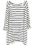 Sheinside Women's White Black Striped Loose T-Shirt