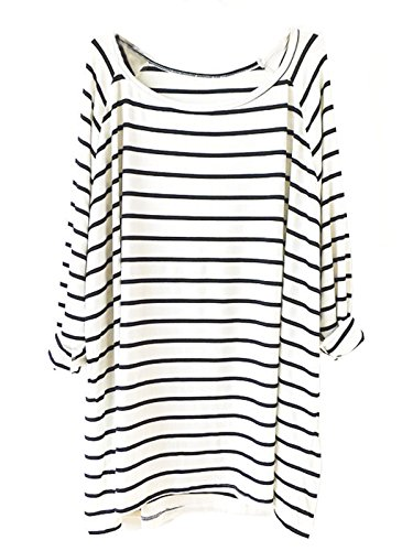 Sheinside Women's White Black Striped Loose T-Shirt (One Size, White)