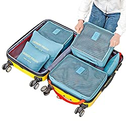 Evana 6 Sets Travel Organizers Packing Cubes Laundry Bag Luggage Compression Pouches Waterproof Packing Cube, Travel Cubes, Pouches, Shoe Bag (Assorted Colors)