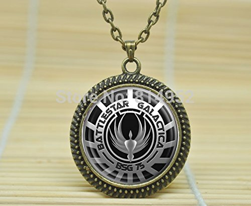 [VintaStore Art Glass Necklace Battlestar Galactica Charm Jewelry A3127] (Galactica Costumes)
