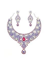 Grand Austrian Diamond Necklace Set By Zaveri Pearls - B00NEGG9A2