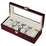 #6: Wooden 5 Slots Wrist Watch Storage Box Display Case Organizer with Cherry Finish and Glass Window ( 26 X 12 X 9 CM) by Kurtzy