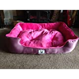 "NEW-Luxury Dog Bed XXL 42""PINK For the largest of breeds. Double Stuffed Cushion. Thick Rubber Waterproof Baseby TOA"
