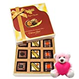 Valentine Chocholik Premium Gifts - Stunning Collection Of Pralines Chocolates With Teddy